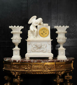 EARLY ANTIQUE FRENCH ALABASTER CLOCK SET CUPID MENACING LOVE C1820