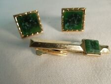 Vintage Hickok Cufflinks and Tie Clasp Set Gold Tone & Emerald Green Stone USA