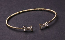 Cute &smart office chick diamante bow featured open ended gold bangle  (NS6)