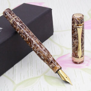 LIY Brown Marble Resin Fountain Pen Schmidt Fine Nib Gold Trim Writing Gift Pen