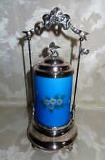 Victorian Antique Satin Glass Silver Plate Castor with Hand Painted Enamels