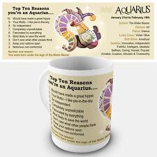 Aquarius Zodiac Gift Mug - Showing key characteristics of the star sign