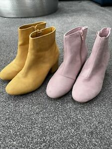 2 Pairs Of Primark Boots. Mustard And Pink. Uk4