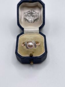 9ct rose gold pearl and diamond ring