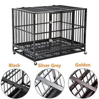 "37""/42""/48"" Folding Metal Dog Cage Crate Heavy Duty Pet Kennel w/ Tray & Wheels"