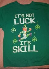 Its Not Luck Its Skill T-Shirt Boys Size Large 10-12 St. Patricks Day