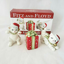 Fitz & Floyd Christmas Kitty Kringle Tumblers Figurines Set Of 3
