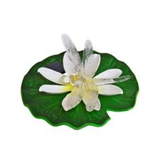 """Solar Light& Floating Water Lily & Dragonfly,7"""" dia,Changes Colors"""