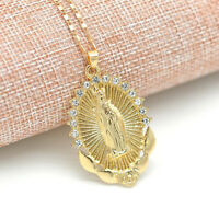Women Virgin Mary Pendant Necklace Overlay Religious Catholic Chain Jewelry Gift