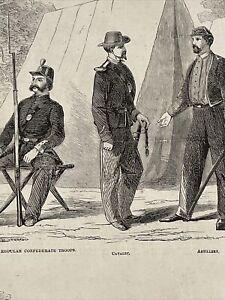1861 Original Harper's Weekly Confederate Army Civil War Uniforms Large Print