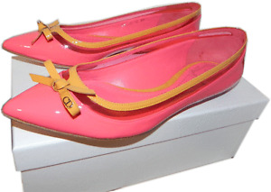 Christian Dior Bow Pointed Toe Ballerina Pink Patent Ballet Flats Shoes 9.5-40