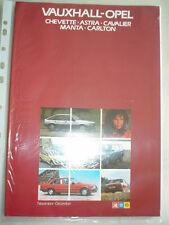 Vauxhall Opel range brochure Nov/Dec 1982 Monza, Manta, Carlton, Astra