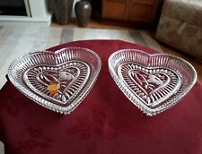 """GERMAN LEAD CRYSTAL PAIR OF HEART SHAPED BEDROOM TRAYS BY A. HÜTTE 7""""- EXCELLENT"""