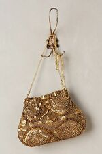 NEW ANTHROPOLOGIE GOLD CHAIN SEQUIN YESTERYEAR POUCH WOMEN'S BAG PURSE