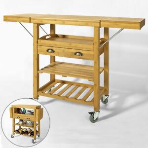 SoBuy® Servierwagen,Küchenwagen,Küchenregal,Rollwagen,bambus,FKW25-N