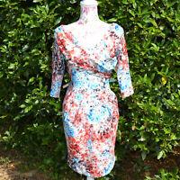 Femme Robe vintage rockabilly taille 36 38 fleurs orange noir bardotte ZAZA2CATS