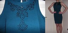 Womens Teal Office Business Ladies Laser Cut Party Summer Holiday Dress s 10 NEW