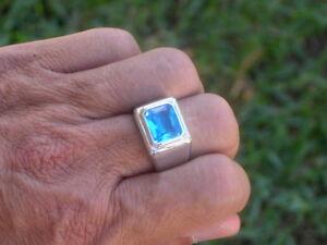 11X9 mm March Aqua Marine Birthstone Men Solitaire Rhodium Ring Size 15