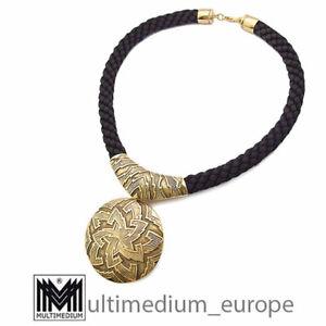 Halskette Anhänger Brosche Pierre Lang starke Vergoldung necklace gold plated