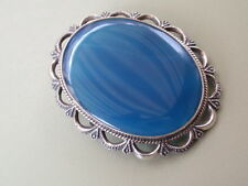 VINTAGE SOLID SILVER 925 STERLING BLUE GLASS CRYSTAL PIN BROOCH