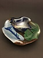 Studio Art Pottery Drip Glaze Ruffled Bowl Blue Green Brown, Signed