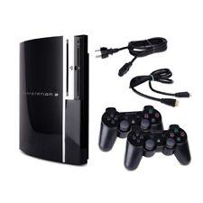 Playstation 3-PS3 Consola Fat 80Gb Cechl04 en Negro + 2 Mando Original