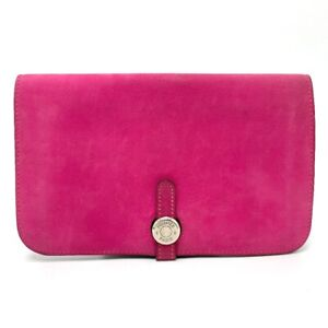HERMES Dogon GM With coin purse Long Wallet (with Coin Compartment) Pink