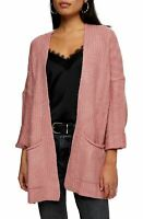 Topshop Womens Sweater Pink Size 14 Longline Open-Front Dolman Cardigan $68 125