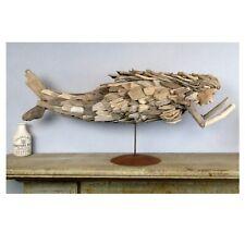 Driftwood Mermaid Sculpture Hand Crafted 29 Inch Folk Art w Iron Pedestal