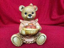 Homco Bear Holding A Basket Of Apples Figurine #1425