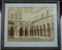 Antique PHOTO PRINT Cloister of the Abbey of Monreale, Sicily, Italy in Frame