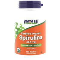 Now Foods Organic SPIRULINA 500mg - 180 tablets GREEN SUPERFOOD