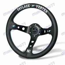 330mm JDM White Embroidery Vertex Genuine Leather Drift Sport Steering Wheels