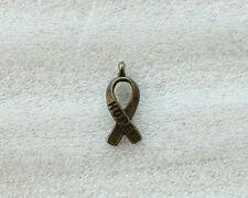 140PCS Antiqued Bronze Cancer Awareness HOPE Ribbon Charms A5104B