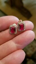 3.45 CT RUSSIAN RUBY &  1/4 CT DIAMOND 10KT SOLID YELLOW GOLD EARRINGS
