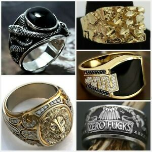 Fashion Men's 925 Silver Gothic Punk Biker Finger Party Ring Jewelry Size 7-13
