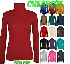 Womens Ladies LONGSLEEVE High Roll Turtle POLO NECK TOP Jumper Sweater Lot D1