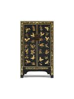 Premium Ming Oriental 2 Door Storage Cabinet Unit Solid Wood Black Gold Leaf