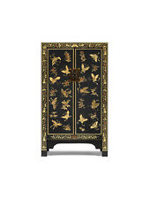 Premium Ming Dynasty Black and Gold Leaf Painted 2 Door Cabinet Asian Style