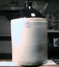 ANTIQUE POTTERY PRIMATIVE WHISKEY JUG ALBANY SLIP 5 GAL. BROWN GLAZE STONEWARE