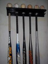 Baseball Bat Rack Holder Display 11 Bats 6 Balls Black Wall Mount Wood MWC