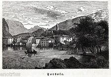 TORBOLE SUL LAGO DI GARDA.Nago-Torbole.Trento.Trentino.Tirolo.Stampa Antica.1876