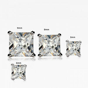 Men's Women's New Gold Finish Square Prong Set Diamond Simulated Stud Earrings