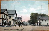 1910 Postcard: 'Main Street/Downtown - Cherryfield, Maine ME'