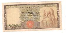 Italia 50000  50.000 lire Leonardo 1972 seriale N127768 K SPL  XF  pick 99c