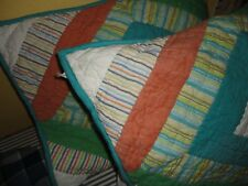 THE COMPANY STORE PATCHWORK CORAL GREEN BLUE STRIPE (PAIR) PILLOW SHAMS STANDARD