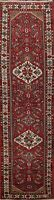 Geometric Semi Antique Hamedan Hand-knotted Narrow Runner Rug Wool Carpet 2x9 ft