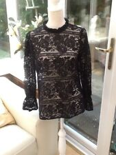 Ladies Black Lacy Blouse Top Long Sleeves Size 10