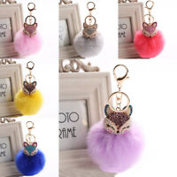 Women Key Chain Pearl Ball Keyring Rhinestone Charm Bag Pendant