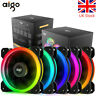 3/5/8pcs Aigo DR12 120mm Cooler Fan Double Aura RGB PC Fan CoolingFan+IR Remote